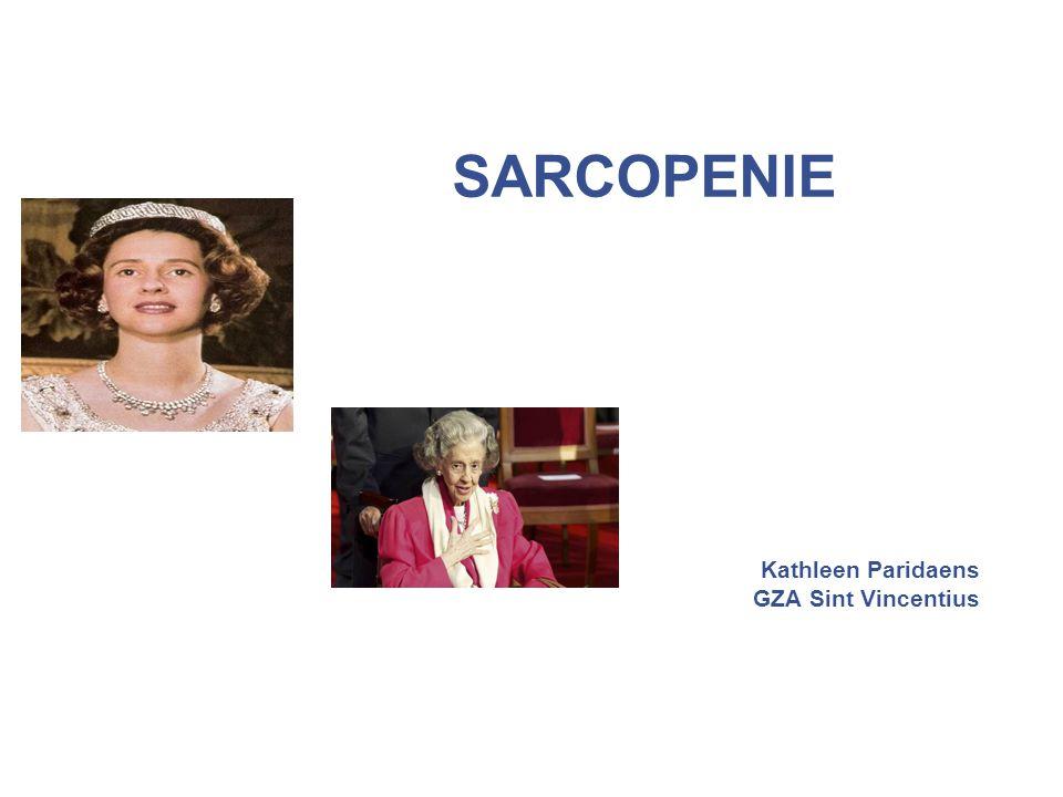 Sarcopenie diagnose gang 22 Spierfunctie: trage gang: < 0.8 m/sec ( 4 m stappen)