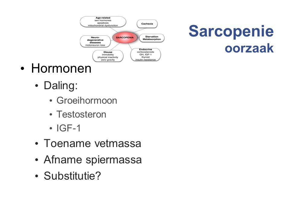 Sarcopenie oorzaak Hormonen Daling: Groeihormoon Testosteron IGF-1 Toename vetmassa Afname spiermassa Substitutie? 11
