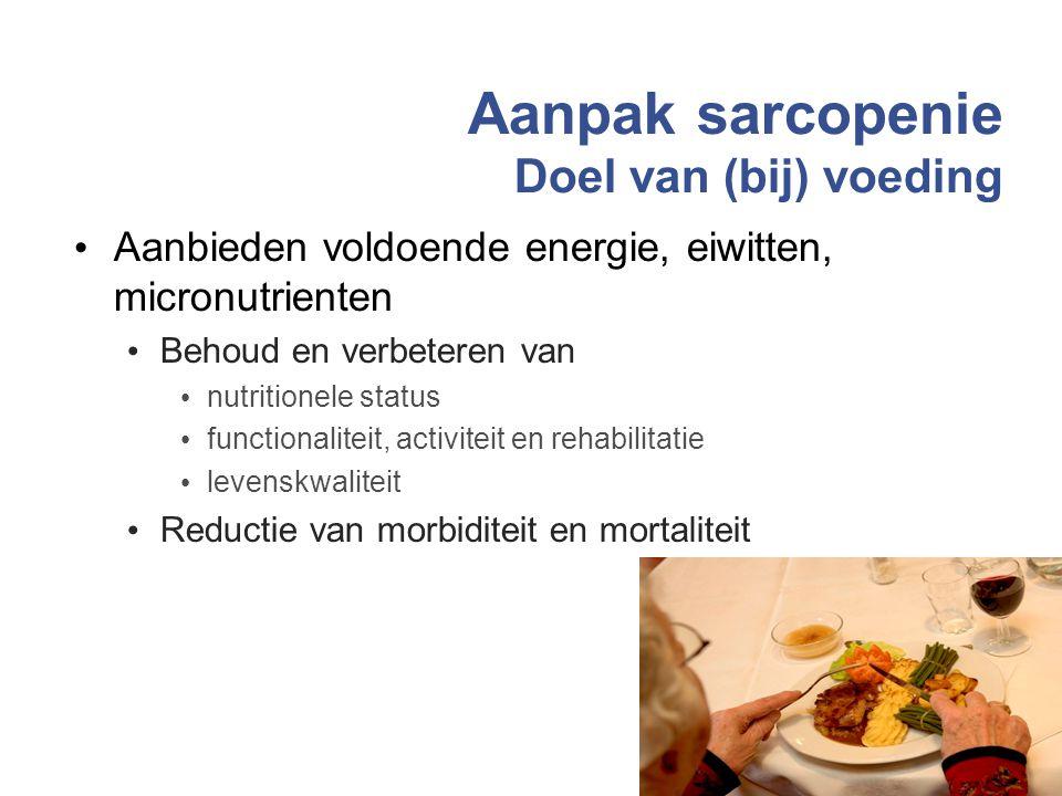 Aanpak sarcopenie Doel van (bij) voeding Aanbieden voldoende energie, eiwitten, micronutrienten Behoud en verbeteren van nutritionele status functiona