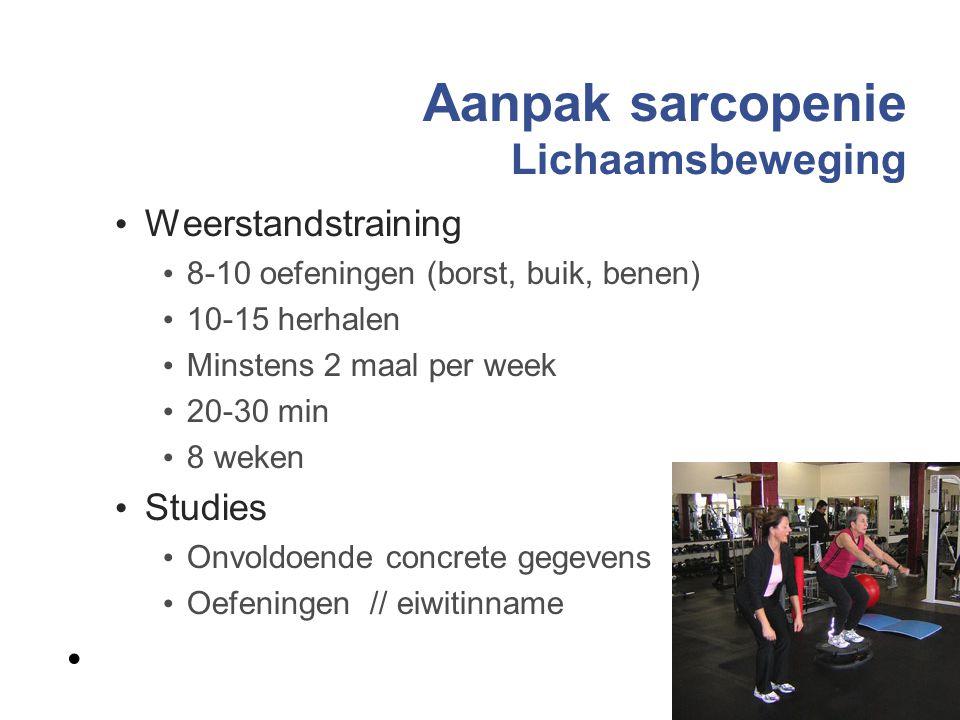 Aanpak sarcopenie Lichaamsbeweging Weerstandstraining 8-10 oefeningen (borst, buik, benen) 10-15 herhalen Minstens 2 maal per week 20-30 min 8 weken S