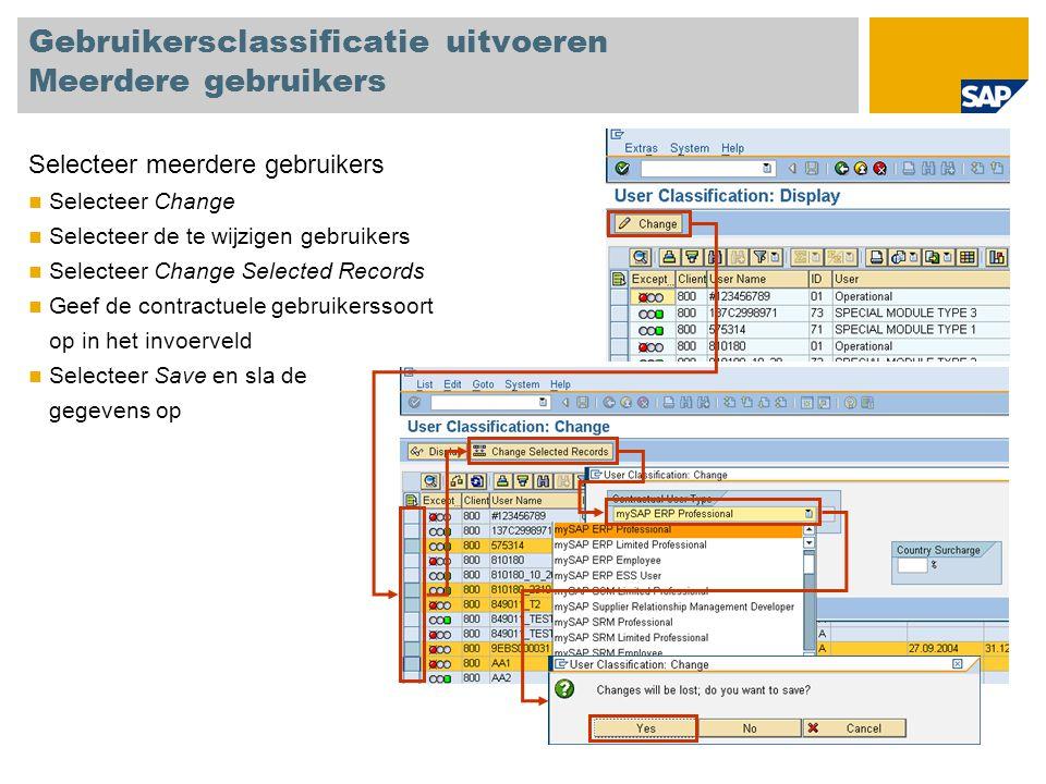 Gebruikersclassificatie uitvoeren Meerdere gebruikers Selecteer meerdere gebruikers Selecteer Change Selecteer de te wijzigen gebruikers Selecteer Cha