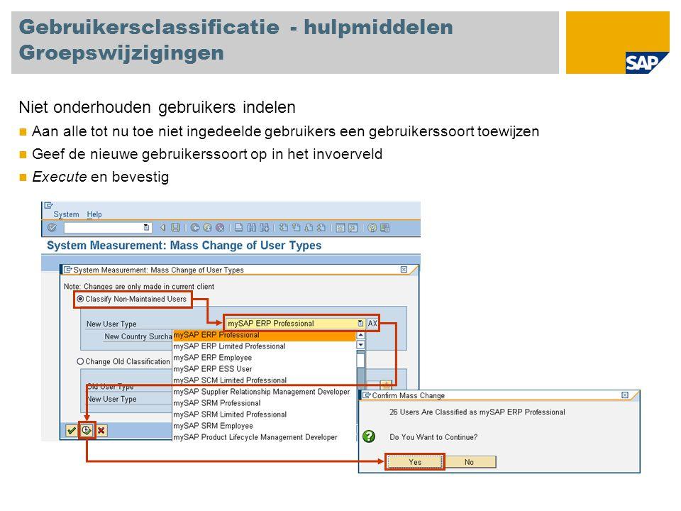 Gebruikersclassificatie - hulpmiddelen Groepswijzigingen Niet onderhouden gebruikers indelen Aan alle tot nu toe niet ingedeelde gebruikers een gebrui