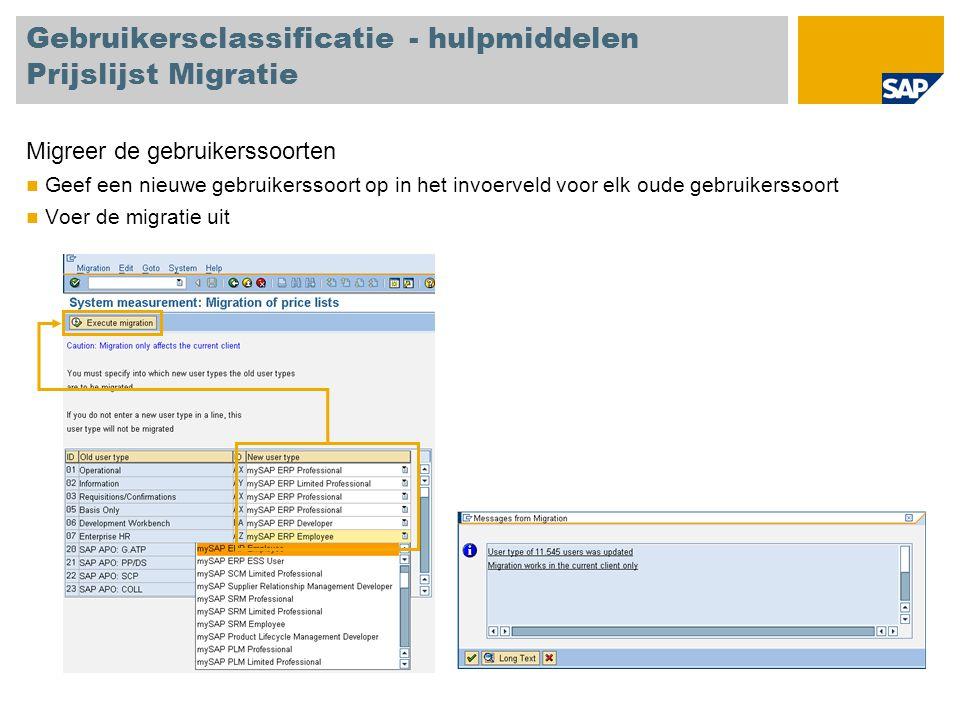 Gebruikersclassificatie - hulpmiddelen Prijslijst Migratie Migreer de gebruikerssoorten Geef een nieuwe gebruikerssoort op in het invoerveld voor elk