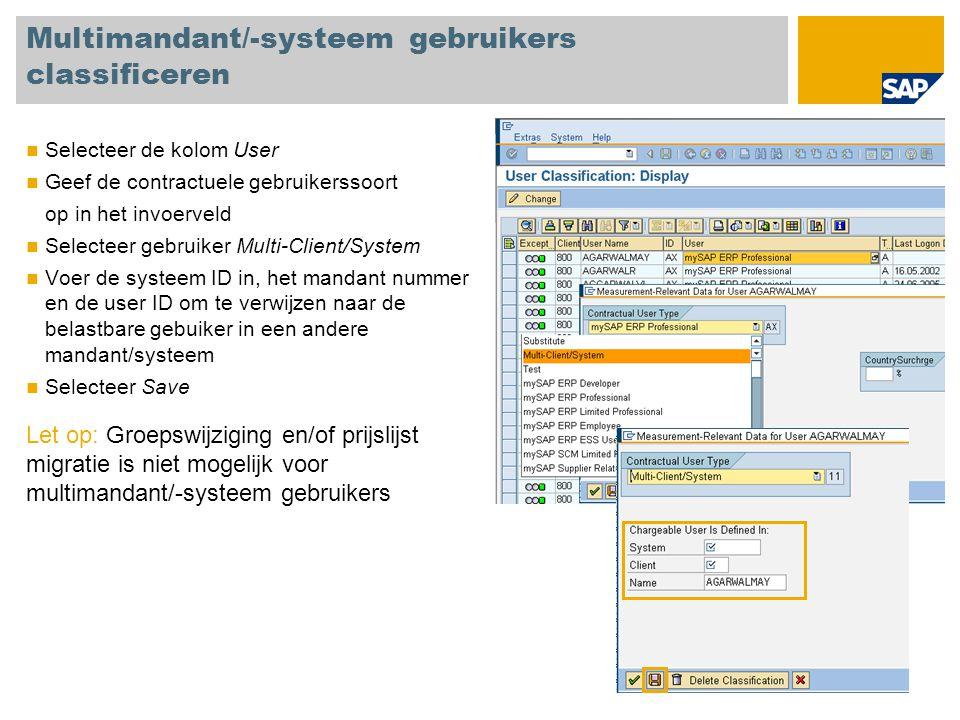 Multimandant/-systeem gebruikers classificeren Selecteer de kolom User Geef de contractuele gebruikerssoort op in het invoerveld Selecteer gebruiker M