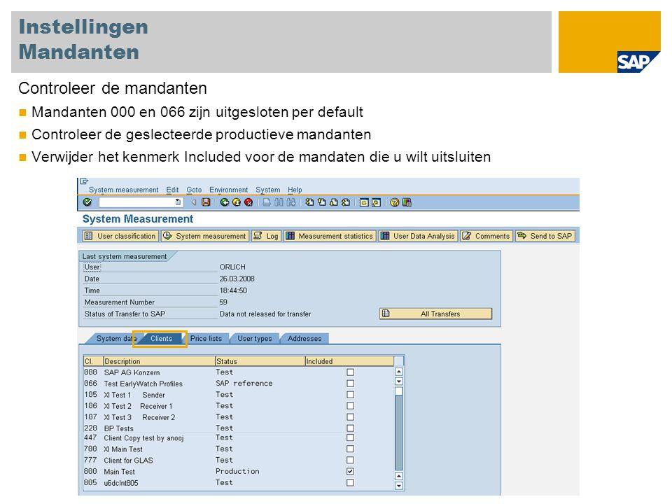 Instellingen Mandanten Controleer de mandanten Mandanten 000 en 066 zijn uitgesloten per default Controleer de geslecteerde productieve mandanten Verw