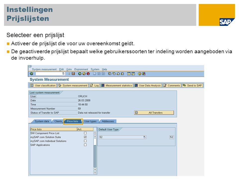 Gebruikersclassificatie - hulpmiddelen Prijslijst Migratie Migreer de gebruikerssoorten Geef een nieuwe gebruikerssoort op in het invoerveld voor elk oude gebruikerssoort Voer de migratie uit