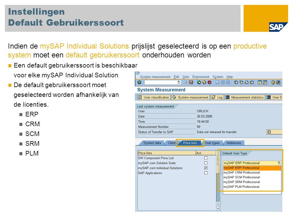 Test gebruikers classificeren Alle technische gebruikers kunnen als test gebruikers geclassificeerd worden, ID 91 Technische gebruikes zijn Systeem gebruikers Service gebruikers Referentie gebruikers Communicatie gebruikers SAP gebruikers, b.v.