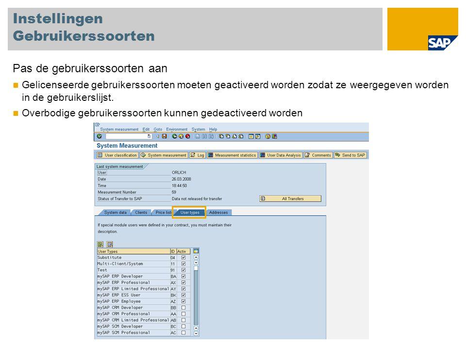 """Multimandant/-systeem gebruikers classificeren Elke gebruiker vereist slechts één licentie Indien een gebruiker gecreëerd is in meerdere mandanten of systemen kan die geclassificeerd worden als multimandant/-systeem gebruiker om te voorkomen dat die meerdere keren geteld wordt De hoofd- (belastbare) gebruiker moet geclassificeerd worden in een productief systeem Voor meer informatie zie de SAP System Measurement Guide, Version 7.0, pagina 35 Systeem PR1 Gebruiker """"SMITH Professionele Gebruiker Systeem ZX2 Gebruiker """"SMITH Multimandant/systeem Gebruiker Systeem TST Gebruikerr """"SMITH Multimandant/systeem Gebruiker"""