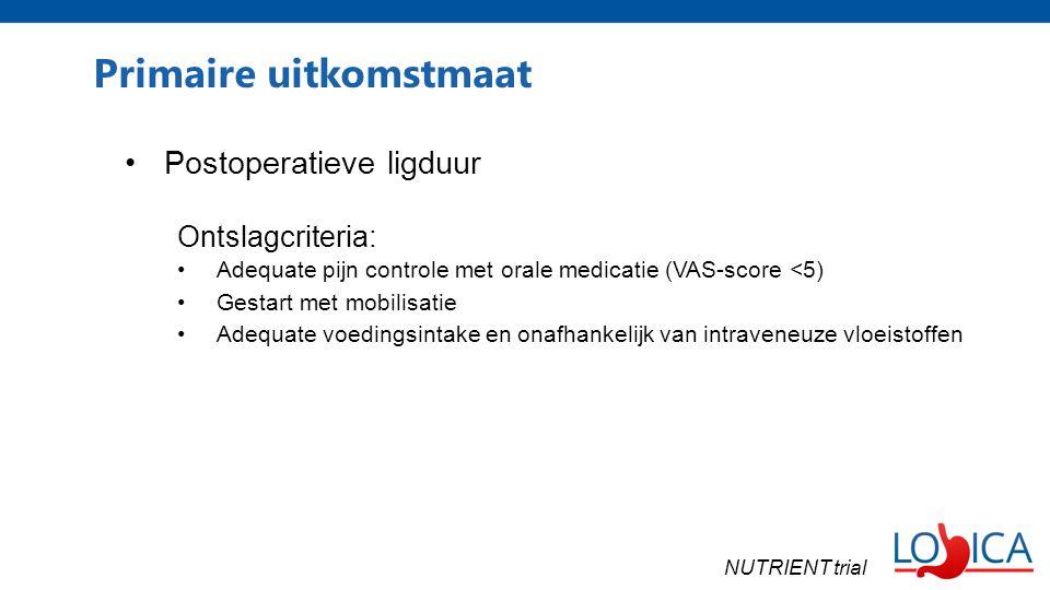 Primaire uitkomstmaat Postoperatieve ligduur Ontslagcriteria: Adequate pijn controle met orale medicatie (VAS-score <5) Gestart met mobilisatie Adequate voedingsintake en onafhankelijk van intraveneuze vloeistoffen NUTRIENT trial