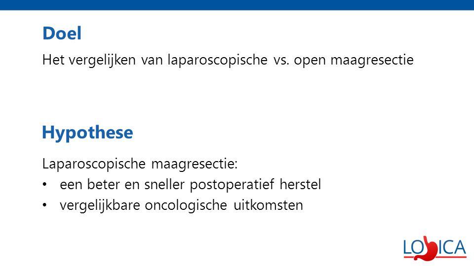 Doel Het vergelijken van laparoscopische vs. open maagresectie Laparoscopische maagresectie: een beter en sneller postoperatief herstel vergelijkbare