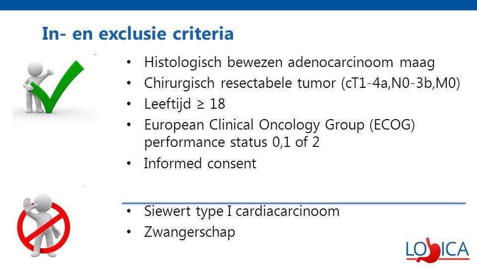 In- en exclusie criteria Histologisch bewezen adenocarcinoom maag Chirurgisch resectabele tumor (cT1-4a,N0-3b,M0) Leeftijd ≥ 18 European Clinical Oncology Group (ECOG) performance status 0,1 of 2 Informed consent Siewert type I cardiacarcinoom Zwangerschap