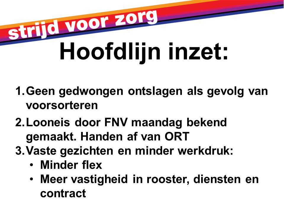 1.Geen gedwongen ontslagen als gevolg van voorsorteren 2.Looneis door FNV maandag bekend gemaakt.