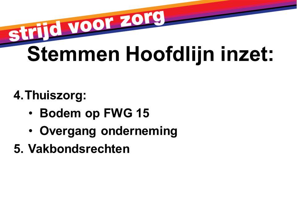 4.Thuiszorg: Bodem op FWG 15 Overgang onderneming 5. Vakbondsrechten Stemmen Hoofdlijn inzet: