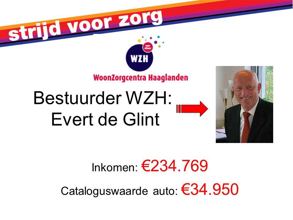 Bestuurder WZH: Evert de Glint Inkomen: €234.769 Cataloguswaarde auto: €34.950