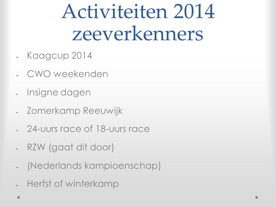 Activiteiten 2014 zeeverkenners Kaagcup 2014 CWO weekenden Insigne dagen Zomerkamp Reeuwijk 24-uurs race of 18-uurs race RZW (gaat dit door) (Nederlands kampioenschap) Herfst of winterkamp