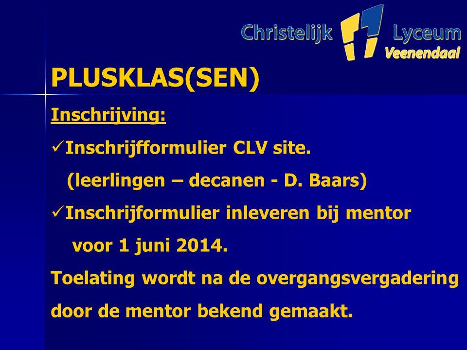 PLUSKLAS(SEN) PLUSKLAS(SEN) Inschrijving: Inschrijfformulier CLV site.