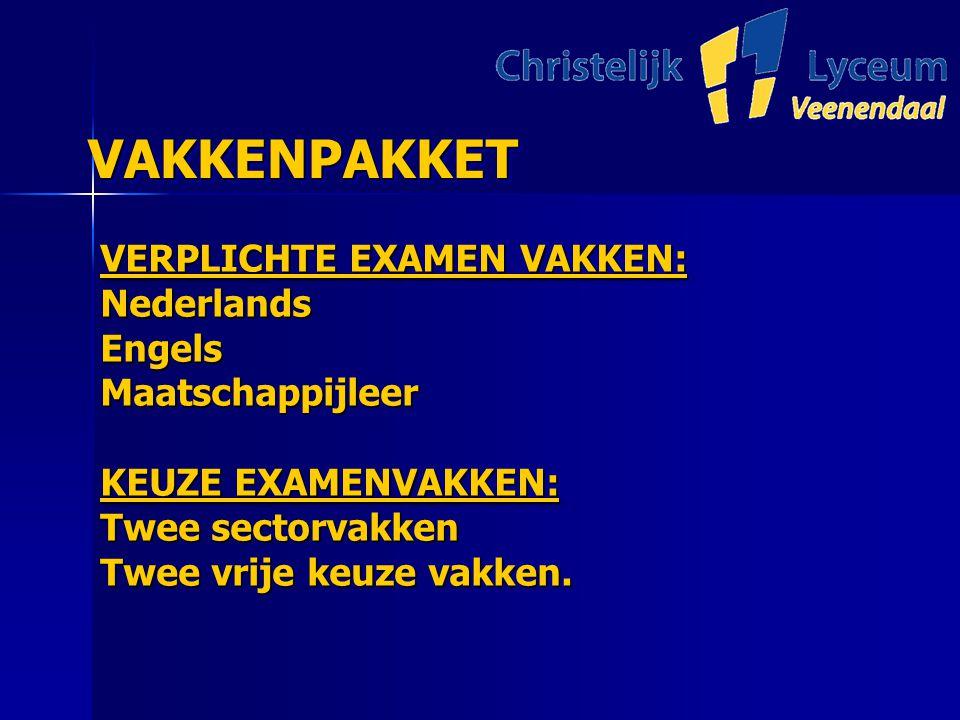 VAKKENPAKKET VAKKENPAKKET VERPLICHTE EXAMEN VAKKEN: NederlandsEngelsMaatschappijleer KEUZE EXAMENVAKKEN: Twee sectorvakken Twee vrije keuze vakken.
