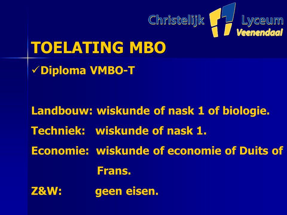 TOELATING MBO TOELATING MBO Diploma VMBO-T Landbouw: wiskunde of nask 1 of biologie.