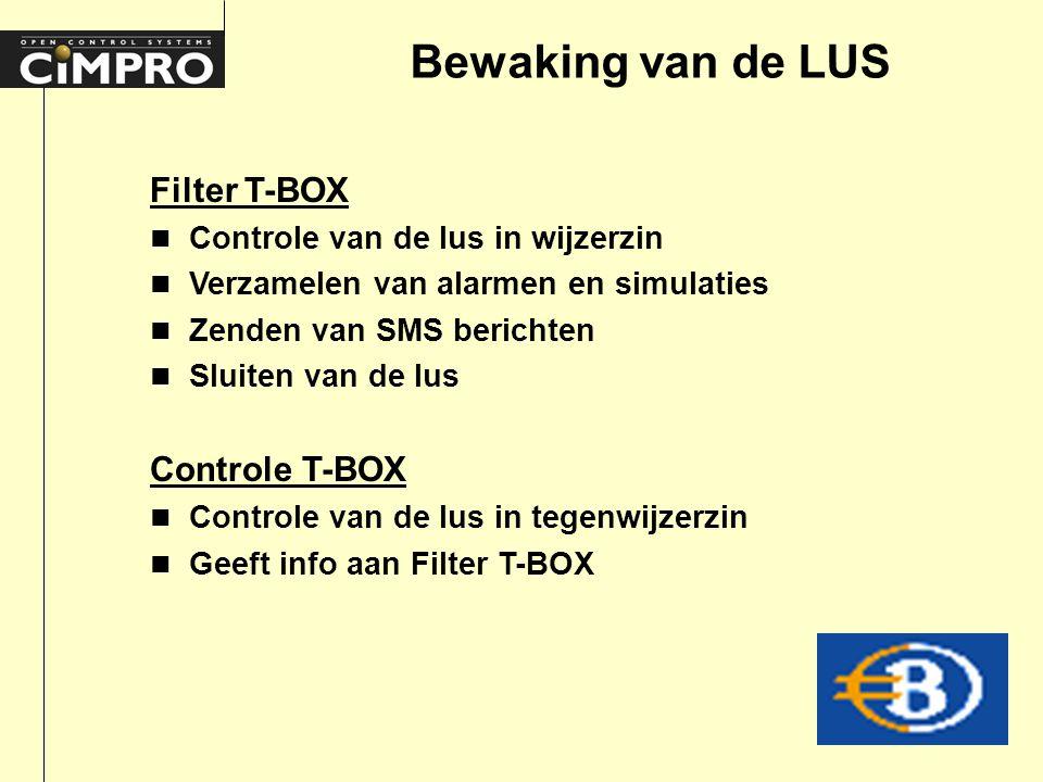 Bewaking van de LUS Filter T-BOX n Controle van de lus in wijzerzin n Verzamelen van alarmen en simulaties n Zenden van SMS berichten n Sluiten van de lus Controle T-BOX n Controle van de lus in tegenwijzerzin n Geeft info aan Filter T-BOX