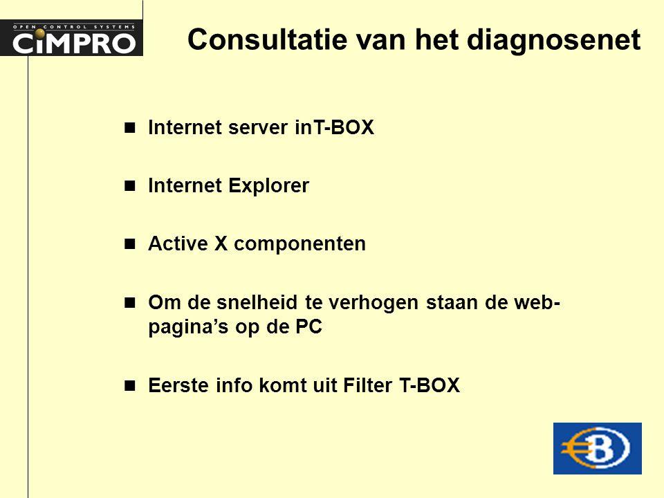 Consultatie van het diagnosenet n Internet server inT-BOX n Internet Explorer n Active X componenten n Om de snelheid te verhogen staan de web- pagina's op de PC n Eerste info komt uit Filter T-BOX