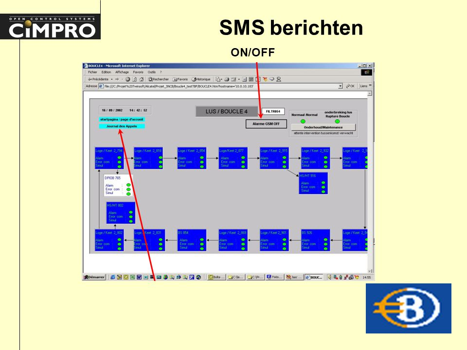 SMS berichten ON/OFF
