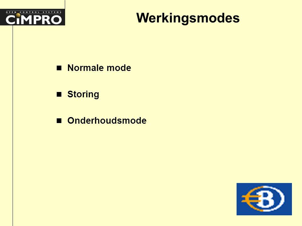 Werkingsmodes n Normale mode n Storing n Onderhoudsmode