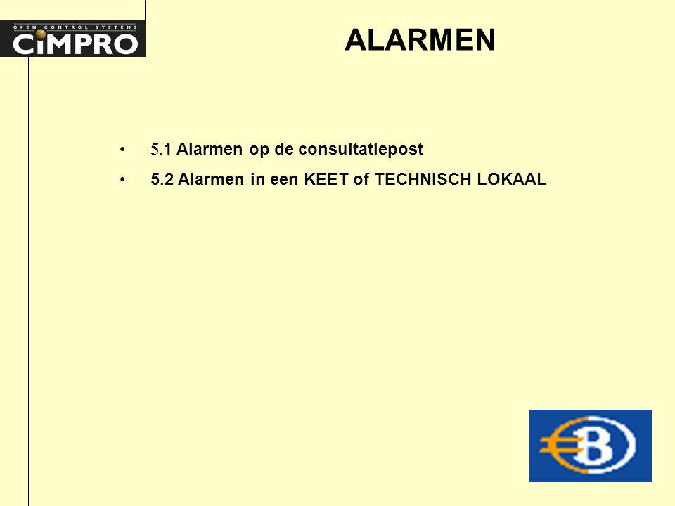 ALARMEN 5. 1 Alarmen op de consultatiepost 5.2 Alarmen in een KEET of TECHNISCH LOKAAL