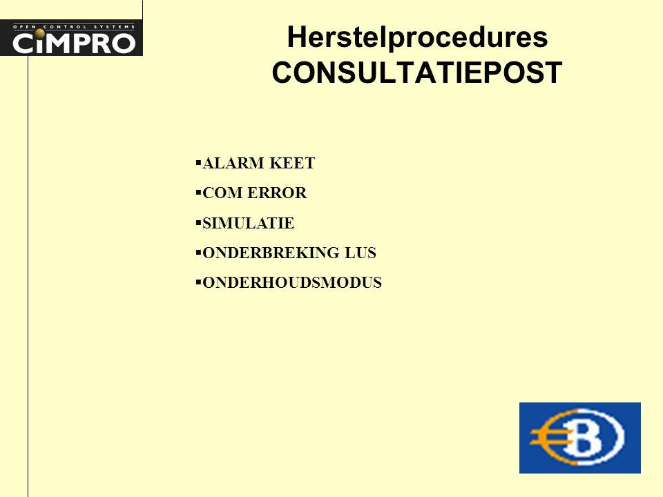 Herstelprocedures CONSULTATIEPOST  ALARM KEET  COM ERROR  SIMULATIE  ONDERBREKING LUS  ONDERHOUDSMODUS