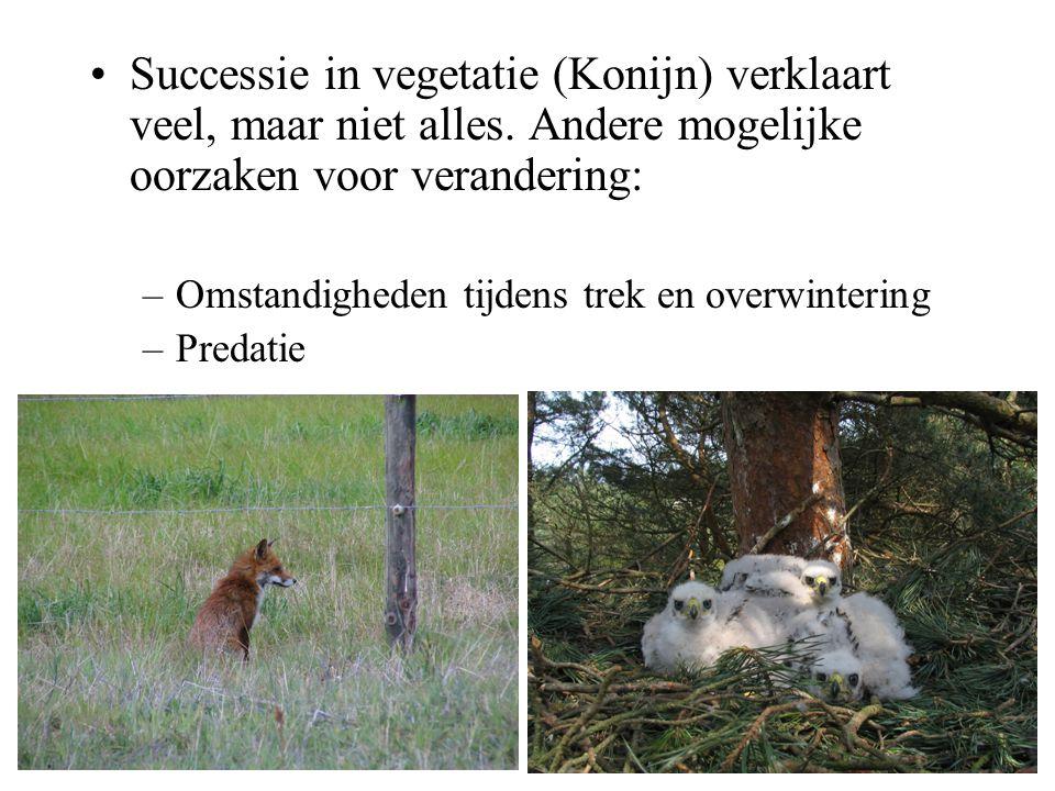 Successie in vegetatie (Konijn) verklaart veel, maar niet alles. Andere mogelijke oorzaken voor verandering: –Omstandigheden tijdens trek en overwinte