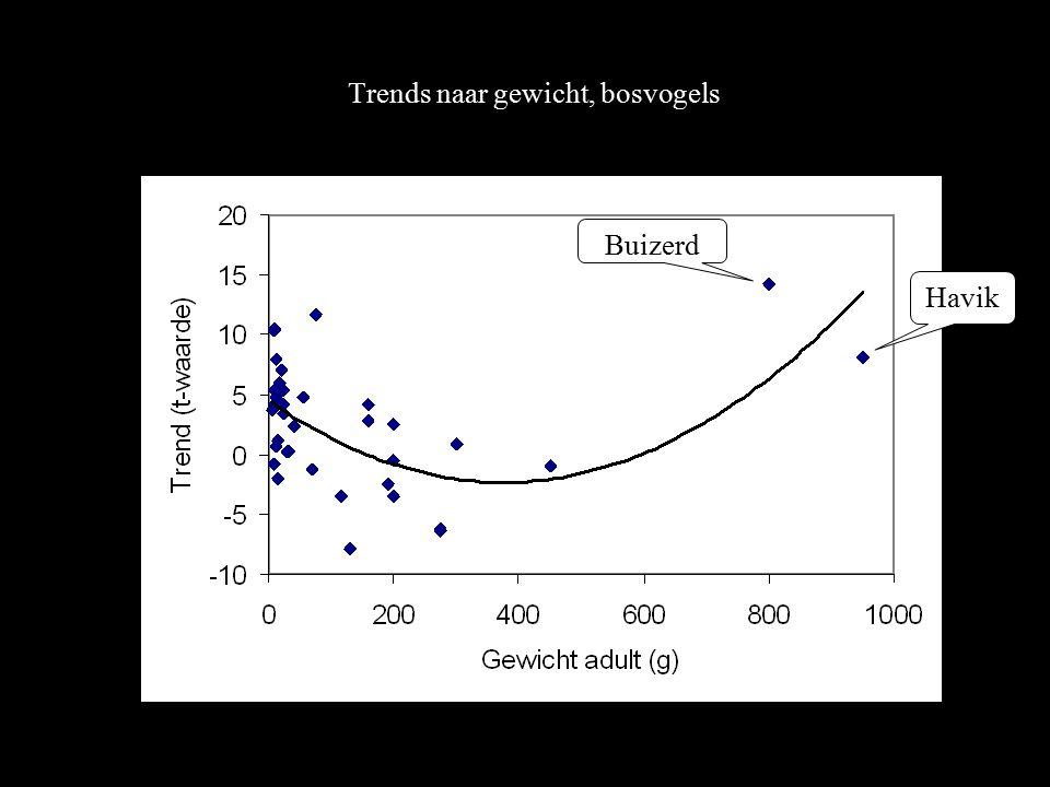 Trends naar gewicht, bosvogels Buizerd Havik