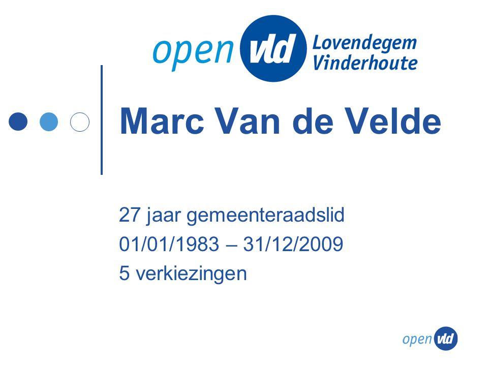 Marc Van de Velde 27 jaar gemeenteraadslid 01/01/1983 – 31/12/2009 5 verkiezingen