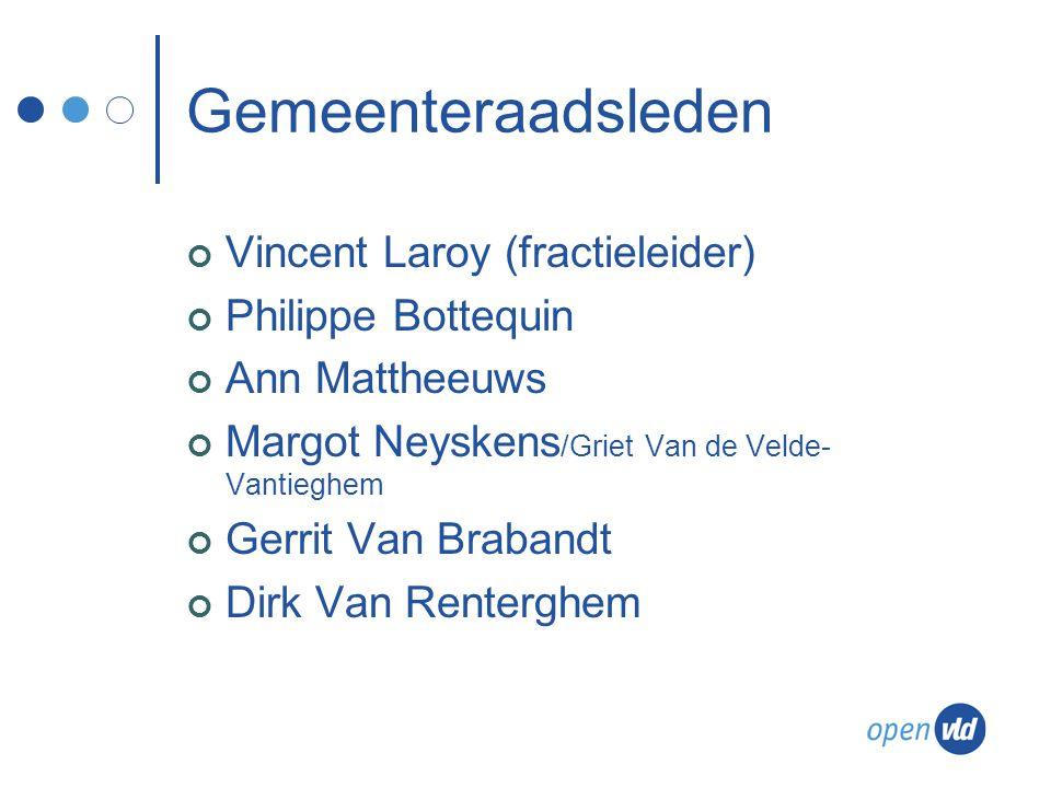 Gemeenteraadsleden Vincent Laroy (fractieleider) Philippe Bottequin Ann Mattheeuws Margot Neyskens /Griet Van de Velde- Vantieghem Gerrit Van Brabandt Dirk Van Renterghem