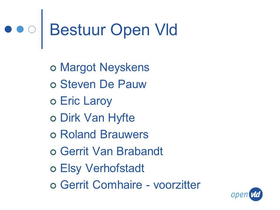 Bestuur Open Vld Margot Neyskens Steven De Pauw Eric Laroy Dirk Van Hyfte Roland Brauwers Gerrit Van Brabandt Elsy Verhofstadt Gerrit Comhaire - voorzitter