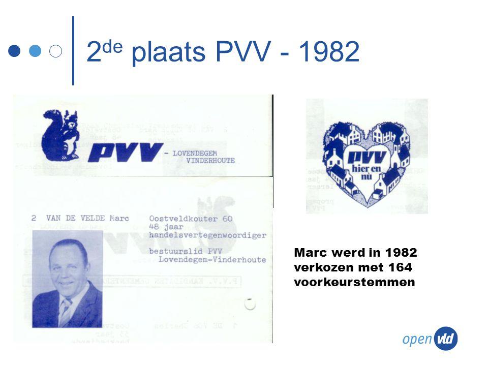 2 de plaats PVV - 1982 Marc werd in 1982 verkozen met 164 voorkeurstemmen