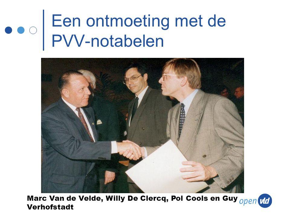 Een ontmoeting met de PVV-notabelen Marc Van de Velde, Willy De Clercq, Pol Cools en Guy Verhofstadt