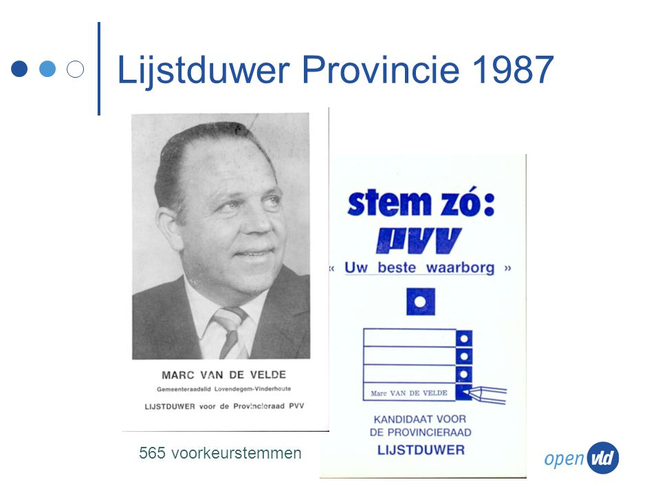 Lijstduwer Provincie 1987 565 voorkeurstemmen