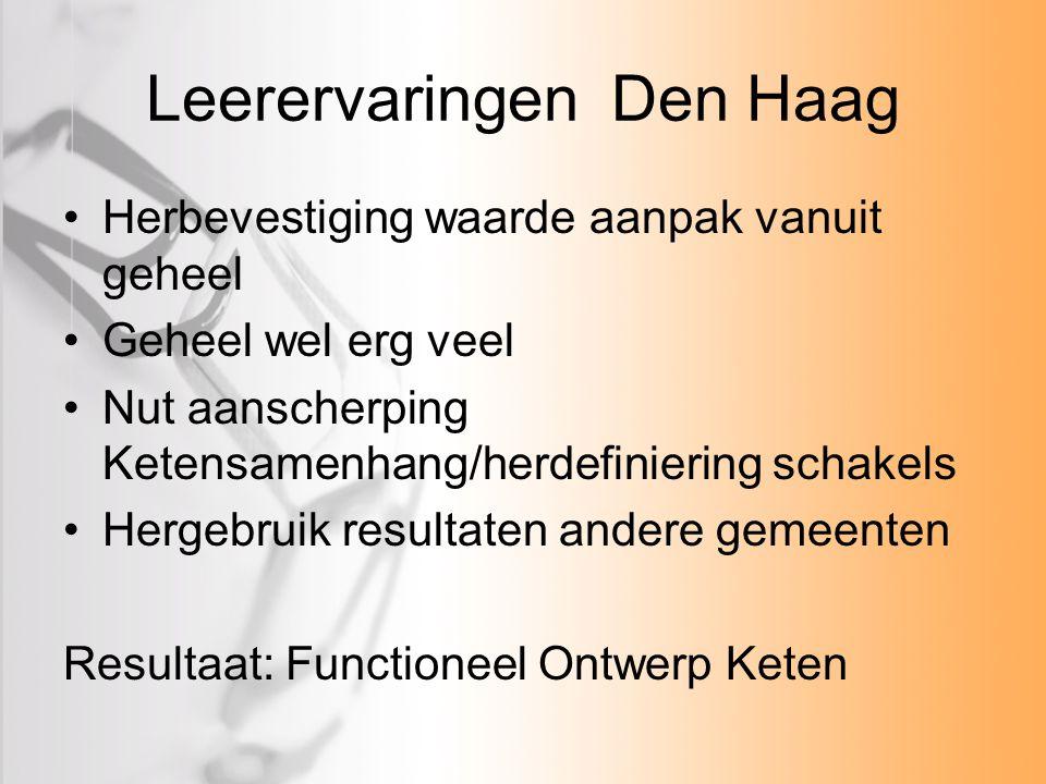Leerervaringen Den Haag Herbevestiging waarde aanpak vanuit geheel Geheel wel erg veel Nut aanscherping Ketensamenhang/herdefiniering schakels Hergebruik resultaten andere gemeenten Resultaat: Functioneel Ontwerp Keten