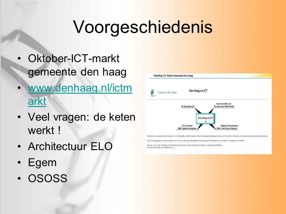 Voorgeschiedenis Oktober-ICT-markt gemeente den haag www.denhaag.nl/ictm arktwww.denhaag.nl/ictm arkt Veel vragen: de keten werkt ! Architectuur ELO E