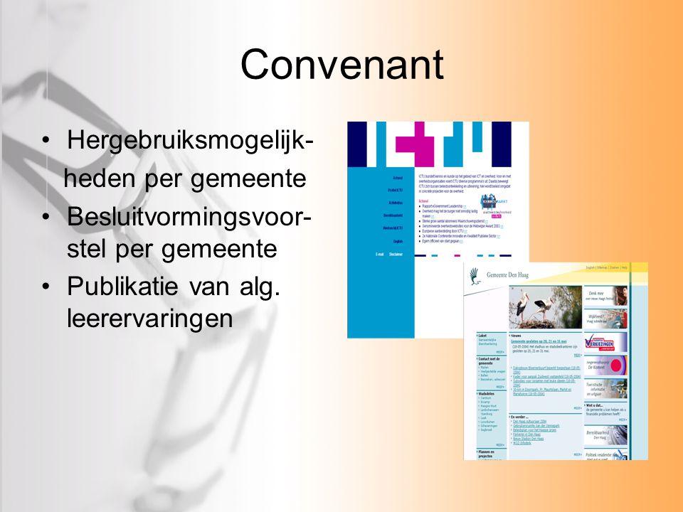Convenant Hergebruiksmogelijk- heden per gemeente Besluitvormingsvoor- stel per gemeente Publikatie van alg. leerervaringen