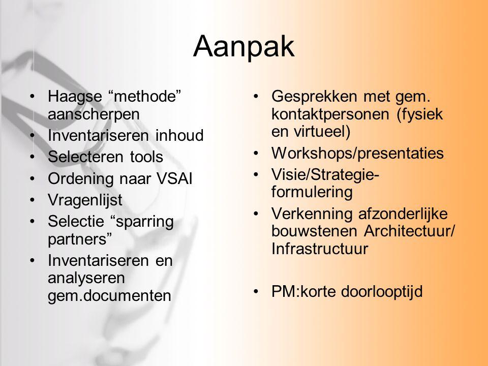 """Aanpak Haagse """"methode"""" aanscherpen Inventariseren inhoud Selecteren tools Ordening naar VSAI Vragenlijst Selectie """"sparring partners"""" Inventariseren"""