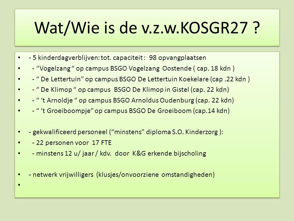 """Wat/Wie is de v.z.w.KOSGR27 ? - 5 kinderdagverblijven: tot. capaciteit : 98 opvangplaatsen - """"Vogelzang """" op campus BSGO Vogelzang Oostende ( cap. 18"""