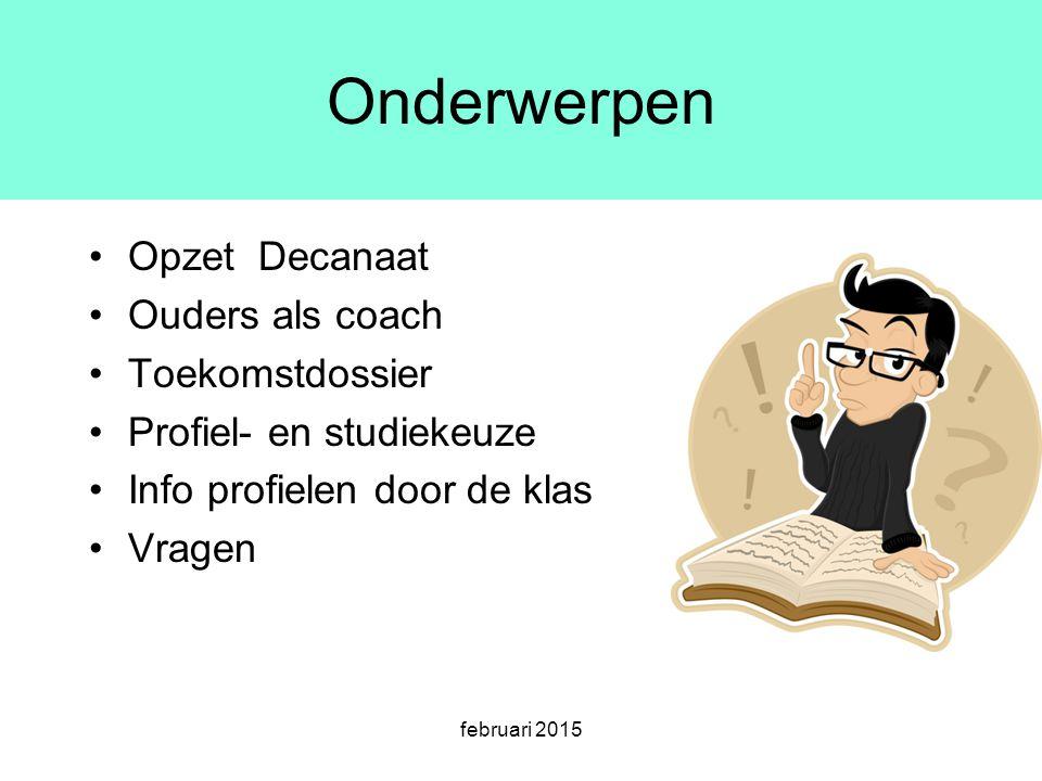 Onderwerpen Opzet Decanaat Ouders als coach Toekomstdossier Profiel- en studiekeuze Info profielen door de klas Vragen februari 2015