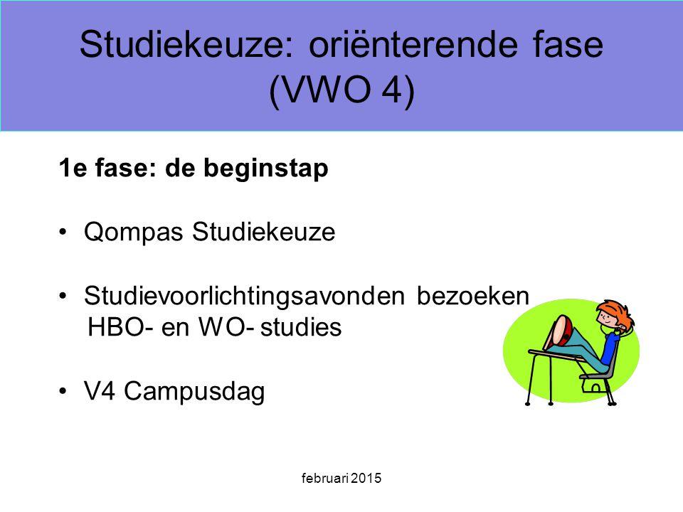 februari 2015 Studiekeuze: oriënterende fase (VWO 4) 1e fase: de beginstap Qompas Studiekeuze Studievoorlichtingsavonden bezoeken HBO- en WO- studies V4 Campusdag