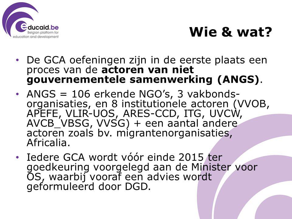Wie & wat? De GCA oefeningen zijn in de eerste plaats een proces van de actoren van niet gouvernementele samenwerking (ANGS). ANGS = 106 erkende NGO's