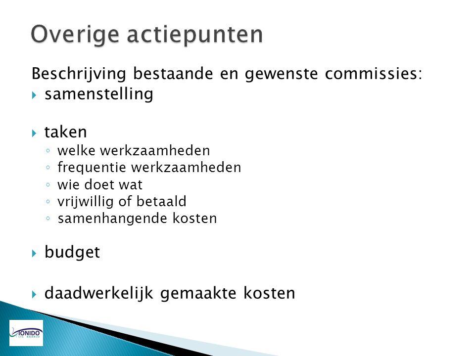 Beschrijving bestaande en gewenste commissies:  samenstelling  taken ◦ welke werkzaamheden ◦ frequentie werkzaamheden ◦ wie doet wat ◦ vrijwillig of