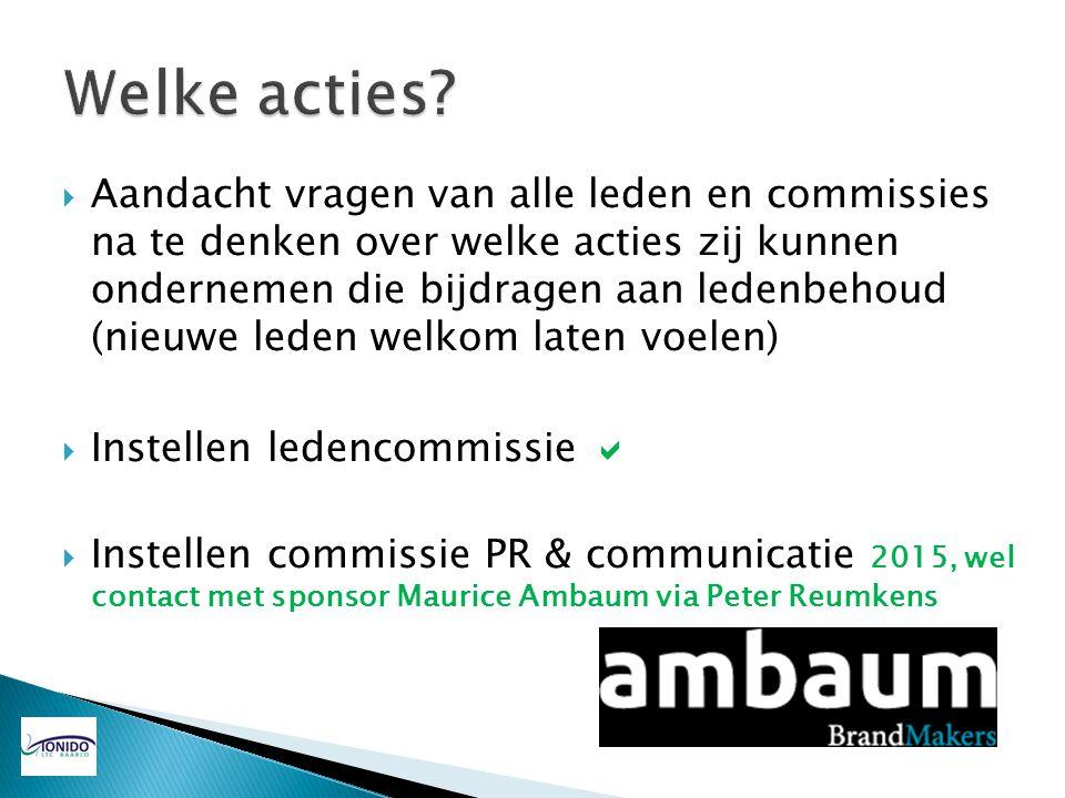 Aandacht vragen van alle leden en commissies na te denken over welke acties zij kunnen ondernemen die bijdragen aan ledenbehoud (nieuwe leden welkom
