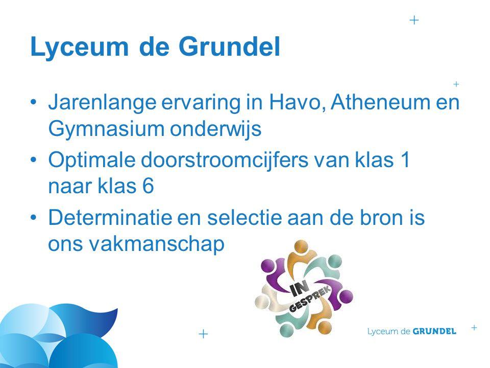 Lyceum de Grundel Jarenlange ervaring in Havo, Atheneum en Gymnasium onderwijs Optimale doorstroomcijfers van klas 1 naar klas 6 Determinatie en selec
