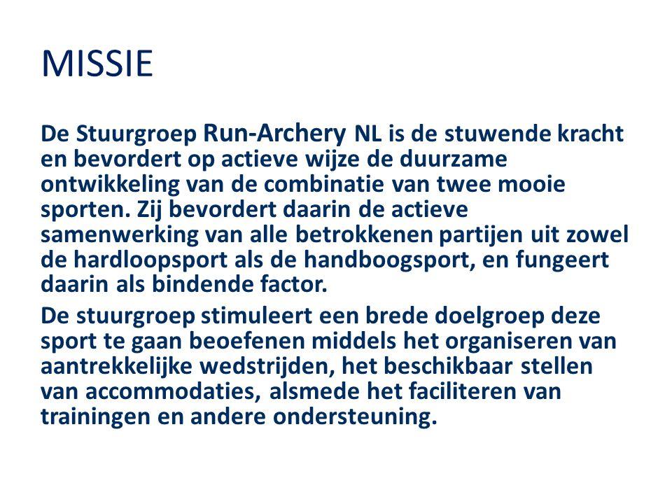 MISSIE De Stuurgroep Run-Archery NL is de stuwende kracht en bevordert op actieve wijze de duurzame ontwikkeling van de combinatie van twee mooie sporten.