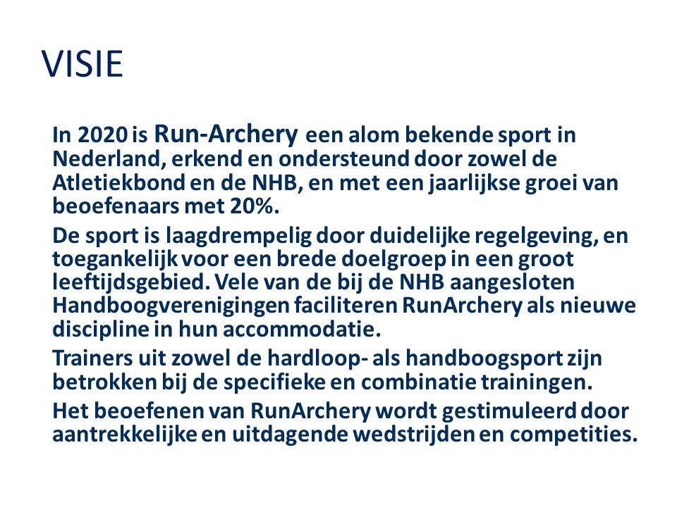 HOOFDDOELSTELLINGEN Intentie tot samenwerken Atletiekunie en NHB Samenwerking handboogverenigingen en atletiekverenigingen op lokaal niveau Handboogverenigingen faciliteren Run-Archery Jaarlijkse groei beoefenaars met 20% Organiseren meerdere wedstrijden per jaar Jaarlijks Open NK met int.