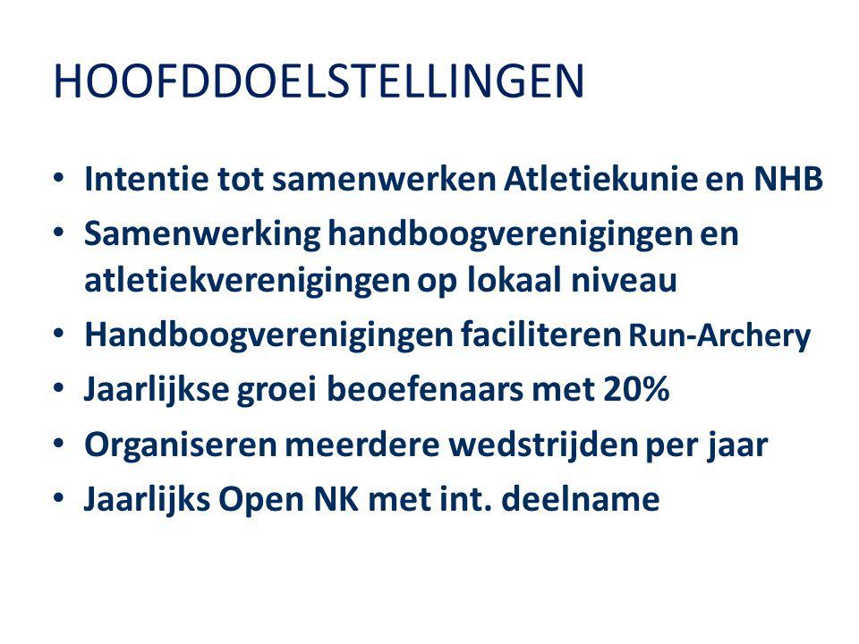HOOFDDOELSTELLINGEN Intentie tot samenwerken Atletiekunie en NHB Samenwerking handboogverenigingen en atletiekverenigingen op lokaal niveau Handboogve